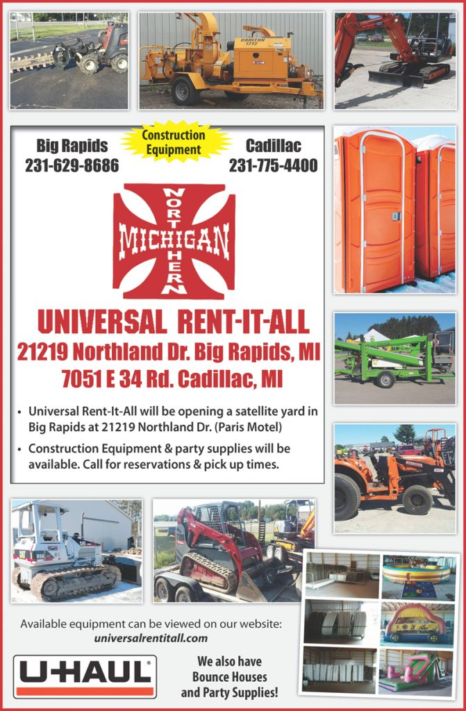 car rental big rapids mi	  Universal Rent It All – Northern Michigan Construction Equipment and ...